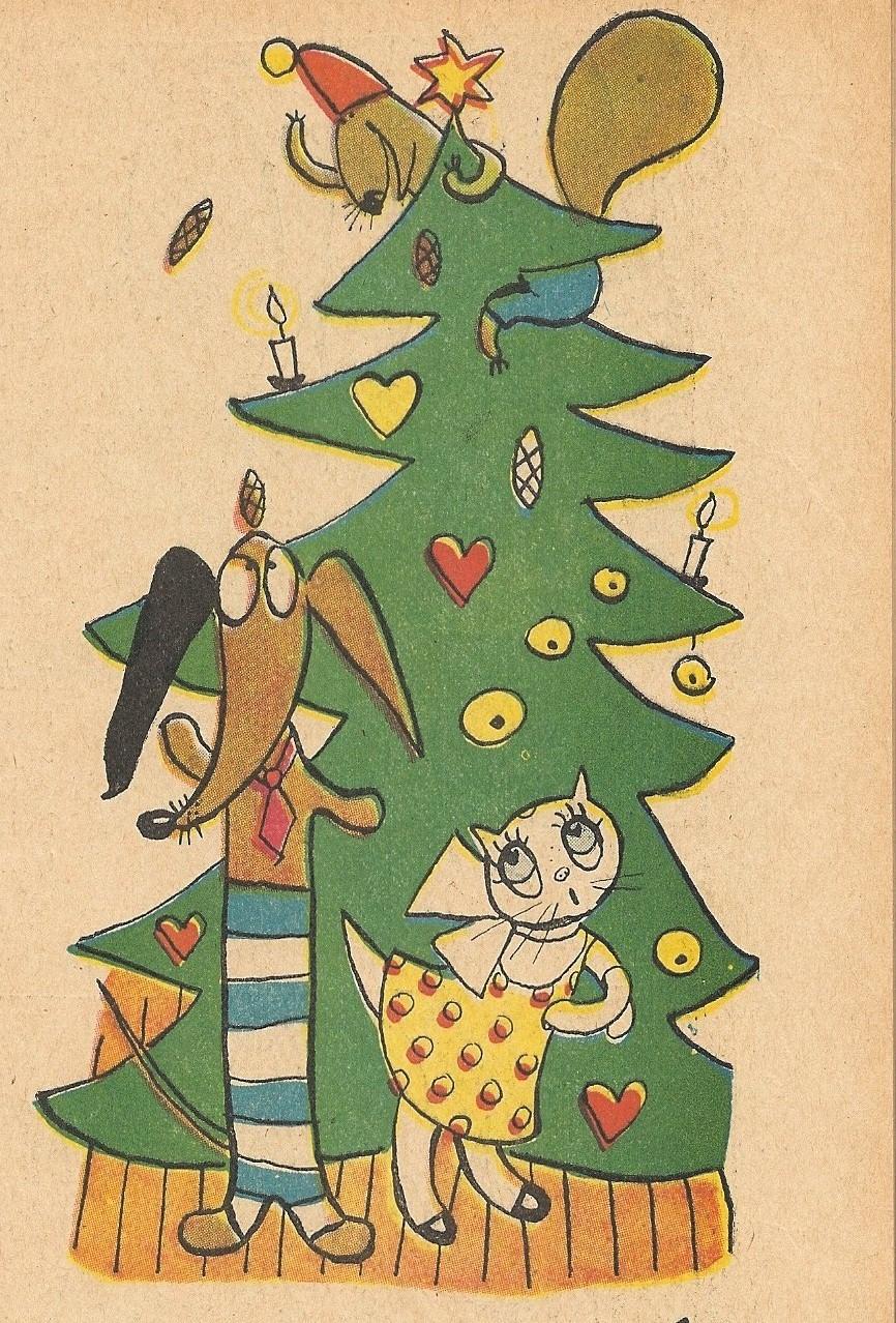 Tuff och Tuss ekorre i julgranen